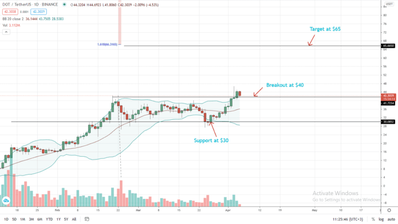 Polkadot Price Daily Chart For April 5