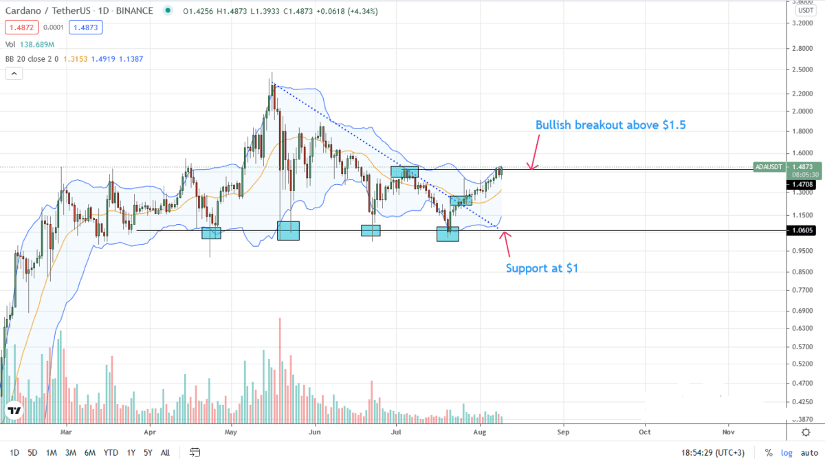 Cardano Price Daily Chart For Aug
