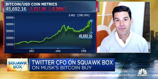 Twitter CFO Ned Segal reacts to Elon Musk's bitcoin purchase